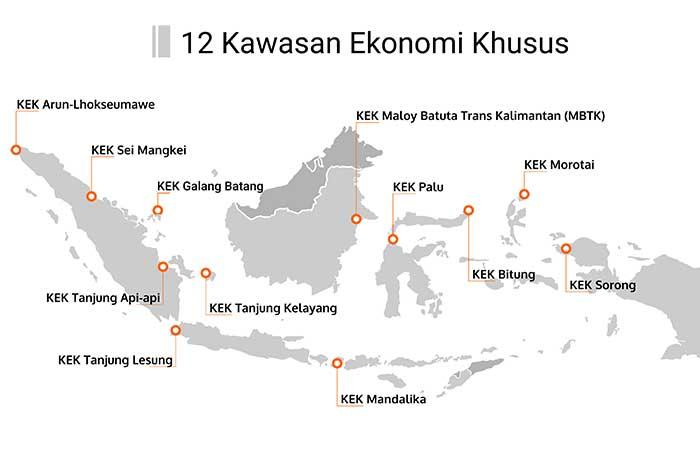 Lokasi Kawasan Ekonomi Khusus di Indonesia